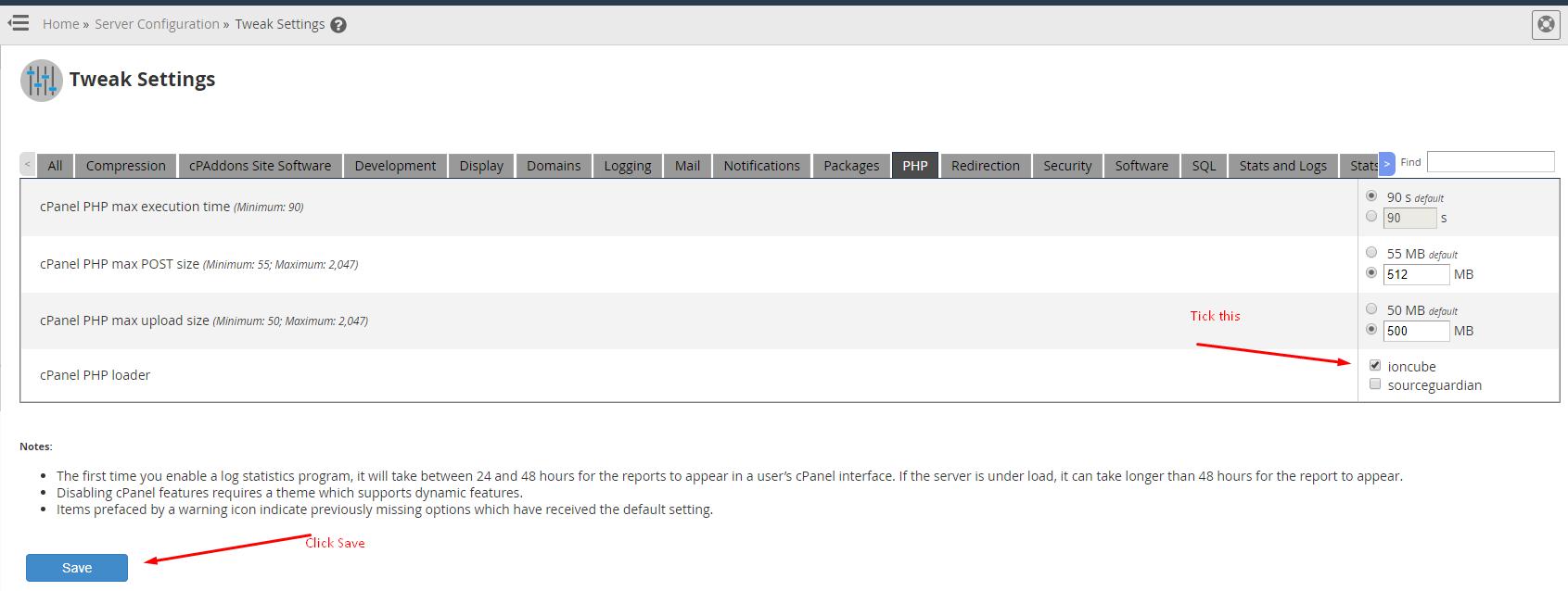 tweak settings php tab
