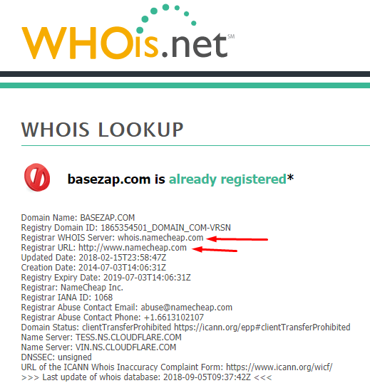 whois domain results