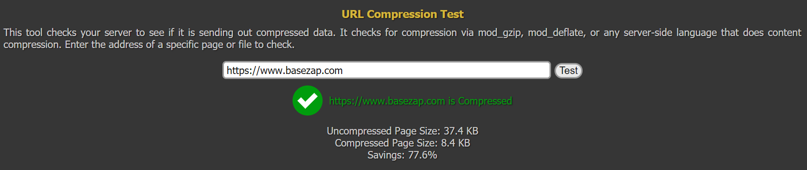 gzip compression result