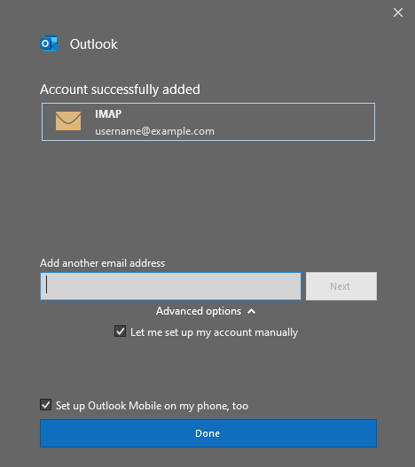 connect an email to outlook using SMTP successful message