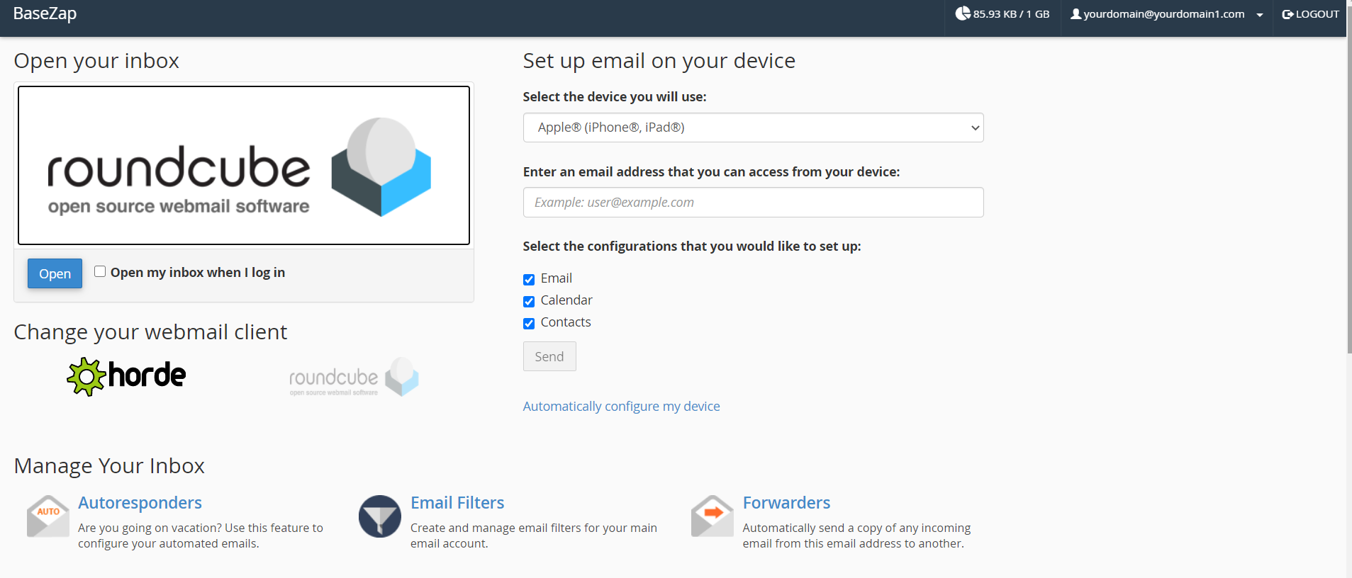 create email cpanel webmail