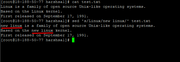 Uses of SED command in Linux