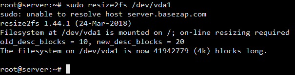 extend root partition without lvm and resize2fs
