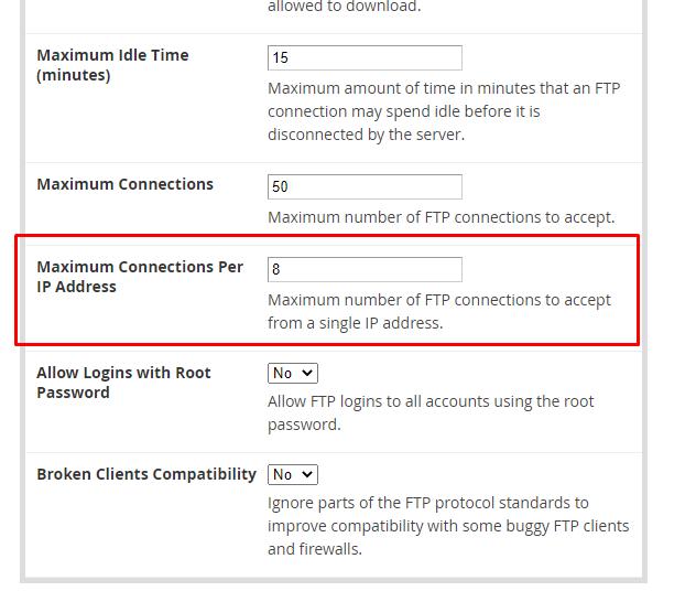 FTP Error 421
