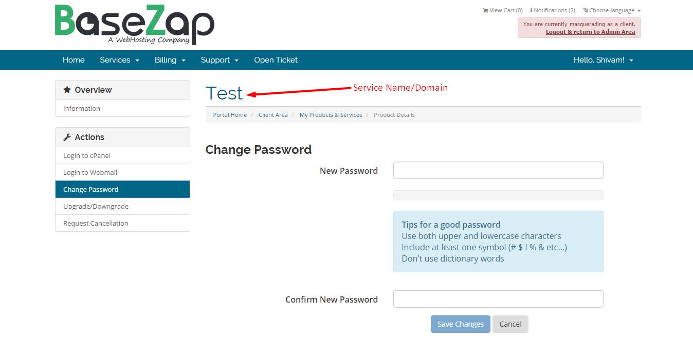 Customer Portal - Shared Hosting - Change Password